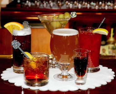 A variety of drinks on a tray