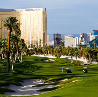 Photo of Bali Hai Golf Club greens with Las Vegas skyline in the background