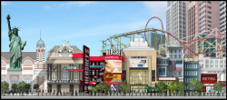 A rendering of the exterior changes coming to New York-New York Las Vegas