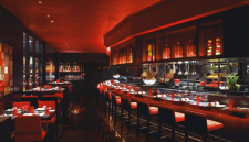 The red interior of L'Atelier de Joël Robuchon restaurant at MGM Grand Las Vegas.