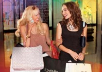Ladies shopping and carrying bags at Miracle Mile Shops in Planet Hollywood Las Vegas