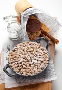 """""""For Two"""" dessert of seasonal cobbler, cinnamon ice cream and peanut brittle from Della's Kitchen in Delano Las Vegas"""