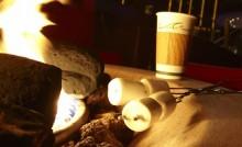 Roasting marshmallows at a fire pit at Mandalay Bay Beach