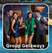 A group of friends or family on Group Getaways at The Mirage Las Vegas