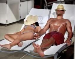 A couple sleeping by the pool at Mandalay Bay Las Vegas