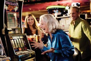 Players at the slot machines in Bally's Las Vegas