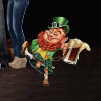 A cartoon leprechaun with a beer for St. Patrick's Day on New York-New York Las Vegas