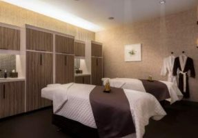 Two massage beds and robes at the spa in Linq Las Vegas
