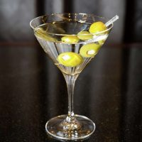 A martini with olives from Vice Versa Patio & Lounge at Vdara Las Vegas