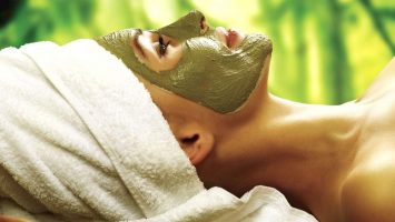 A woman with a facial mask from the spa at Flamingo Las Vegas
