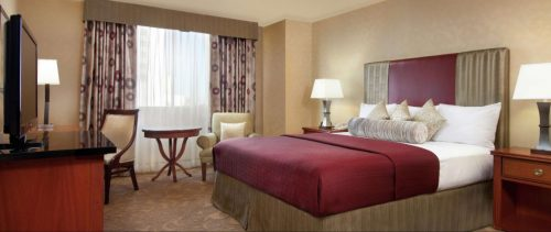 A newly remodeled Casino Tower King room at Circus Circus Las Vegas