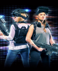 Two women decked out with technical equipment for the interactive gaming at Level Up in MGM Grand Las Vegas