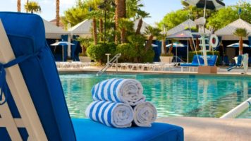 The BLU Pool with a lounge chair and towels at Bally's Las Vegas