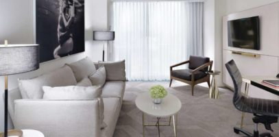 The living space in a spacious Delano Las Vegas suite