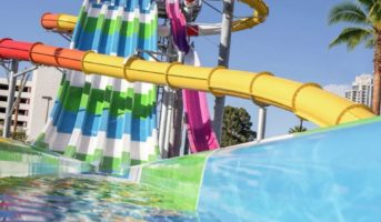 One of the exciting waterslides at the Splash Zone at Circus Circus Las Vegas