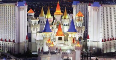 The exterior of Excalibur at night