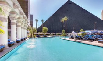 The pool and pyramid of Luxor Las Vegas