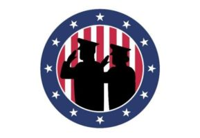 A silhouette of of military woman and man saluting.