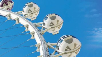 A close up view of cabins of the High Roller Observation Wheel in Las Vegas