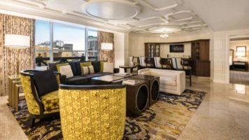 The large and beautiful seating area of the Julius Premium Suite in Caesars Palace Las Vegas