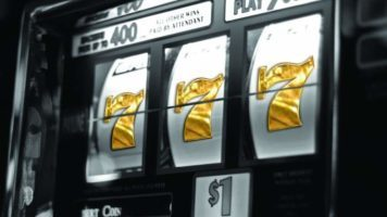 A slot machine with golden 777's at the Paris Las Vegas casino