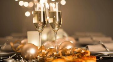 NYE celebrations with champagne flutes with Bellagio Las Vegas