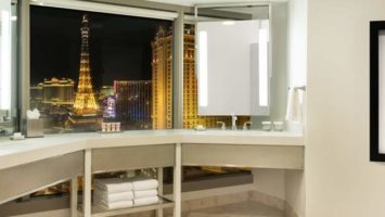 The Ultra Hip Strip Suite at Planet Hollywood Las Vegas has a bathroom with a view of the Las Vegas Strip