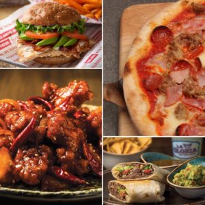 Four photos of hamburger, pizza, chicken, & burritos at Caesars Palace Las Vegas