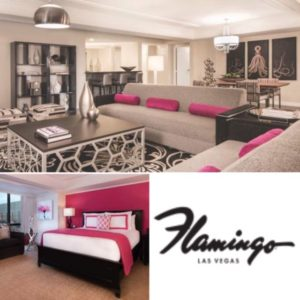 The large and beautiful living room and bedroom of a Forever Fab Suite in Flamingo Las Vegas