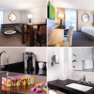 Photos of a Linq King Suite with a living area, separate bedroom, wet bar, and bathroom