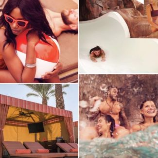 Four pictures of friends poolside including a water slide and cabana at Excalibur Las Vegas