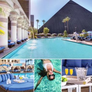 Luxor Las Vegas Pool, Daybed, woman swimming, and Mimosas.
