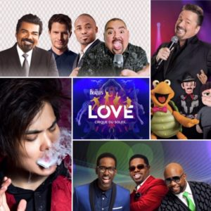 A collage of entertainment: Aces of Comedy, Terry Fator, Boyz II Men, Shin Lim, & LOVE at Mirage Las Vegas