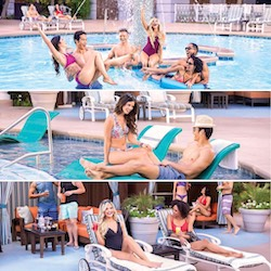 New York-New York Las Vegas pool pictures of friends in pool, cabana, and chaise lounge chairs.