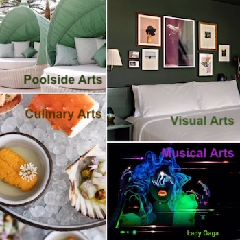 Four pictures of Visual Arts, Musical Arts, Culinary Arts, and Poolside Arts at Park MGM Las Vegas