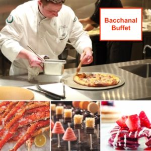 Crab legs, dessert pops, red velvet pancakes and a chef making a pizza at The Bacchanal Buffet in Caesars Palace Las Vegas