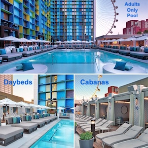 Daybeds and Cabanas at the pool in The Linq Las Vegas