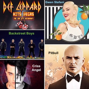 Def Leppard, Backstreet Boys, Criss Angel, Gwen Stefani, and Pitbull at Planet Hollywood Las Vegas
